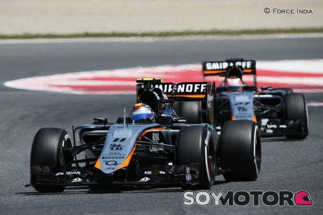 Sergio Pérez y Nico Hülkenberg rodando juntos en Barcelona - LaF1