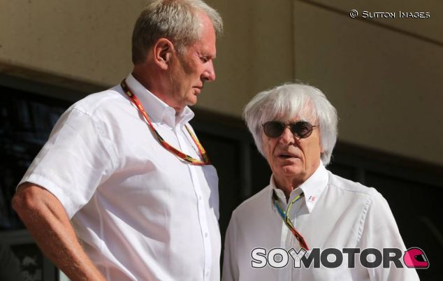 Bernie Ecclestone junto a Helmut Marko en el Gran Premio de Baréin - LaF1