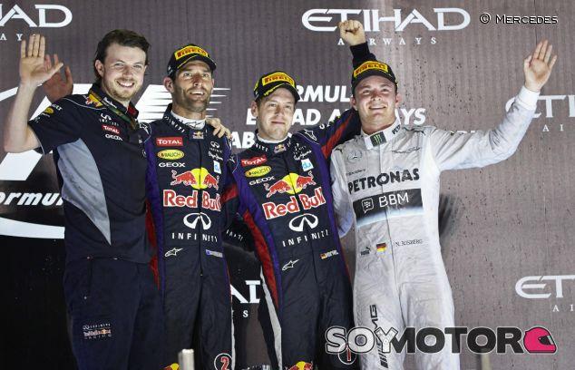 Podio de Abu Dabi con Webber, Vettel y Rosberg - LaF1