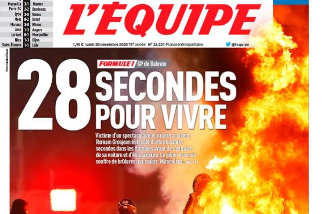 """La impactante portada de L'Equipe por Grosjean: """"28 segundos para vivir"""" - SoyMotor.com"""