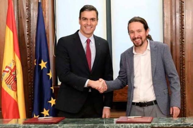 Pedro Sánchez y Pablo Iglesias en la presentación del acuerdo programático - SoyMotor.com