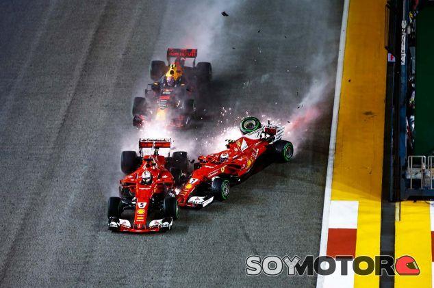Sebastian Vettel, Max Verstappen y Kimi Räikkönen en Marina Bay - SoyMotor.com