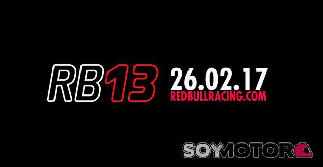 Red Bull presentará el RB13 el 26 de febrero - SoyMotor.com
