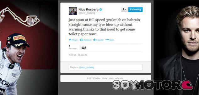 Un neumático le estalla a Rosberg a 320 km/h en el test de Baréin