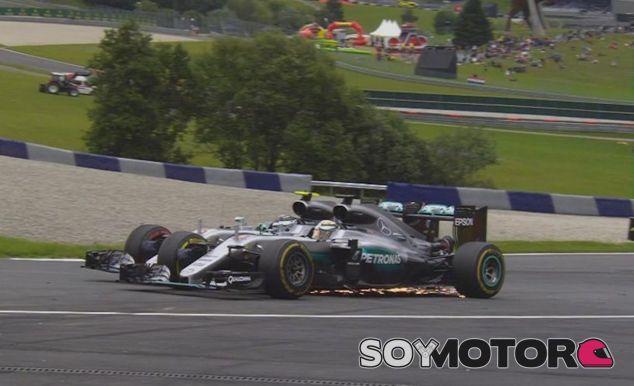 Toque entre Nico Rosberg y Lewis Hamilton en Austria - LaF1