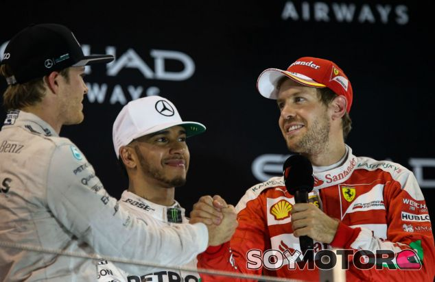 Rosberg, Hamilton y Vettel en el podio de Abu Dabi 2016 - SoyMotor