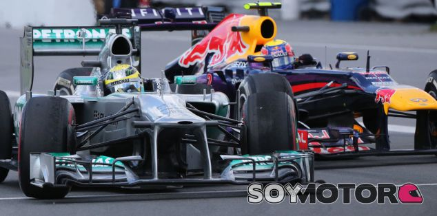 Nico Rosberg y Mark Webber se miden en el GP de Canadá F1 2013