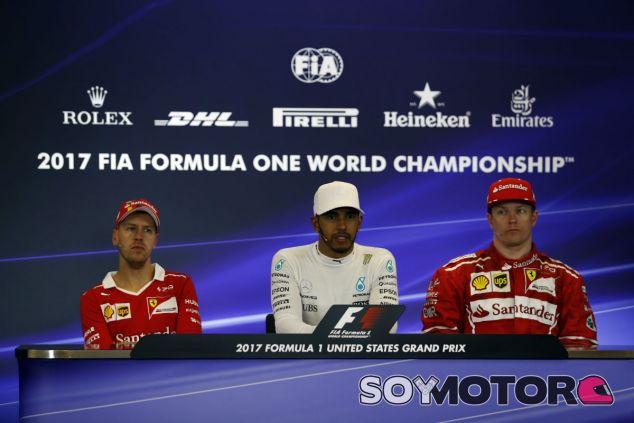 Vettel, Hamilton y Räikkönen en la sala de prensa de Austin - SoyMotor.com