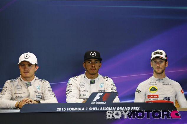 Rosberg, Hamilton y Grosjean, los triunfadores del GP de Bélgica, en la rueda de prensa - LaF1