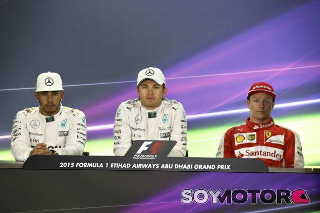 Nico Rosberg, Lewis Hamilton y Kimi Räikkönen, los tres primeros - LaF1