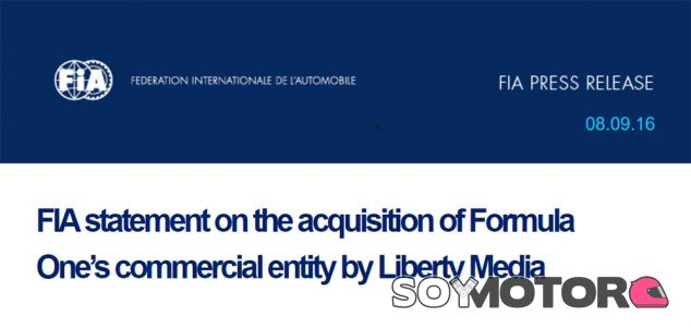 Cabecera del comunicado de la FIA - LaF1