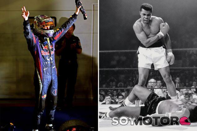 Sebastian Vettel tras su victoria en Singapur; Muhammad Ali tras en 1965 - LaF1