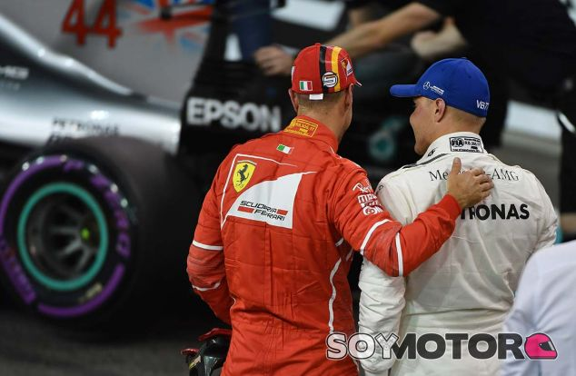 Sebastian Vettel y Valtteri Bottas en Yas Marina - SoyMotor.com