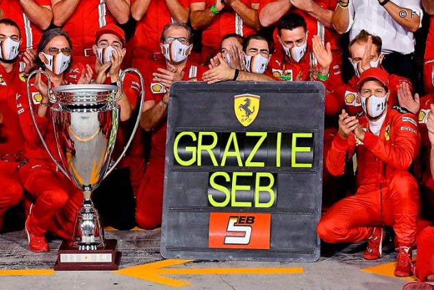 La despedida de Vettel y Ferrari: serenata y un trofeo 'a lo Champions League'  - SoyMotor.com