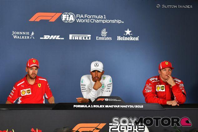 Sebastian Vettel, Lewis Hamilton y Kimi Räikkönen en Hungaroring - SoyMotor.com