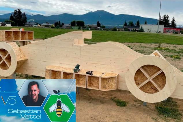 Vettel construye un hotel para abejas con forma de coche de F1 - SoyMotor.com