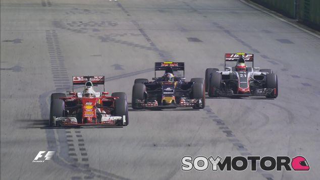 Sebastian Vettel lucha con Carlso Sainz y Esteban Gutiérrez - LaF1