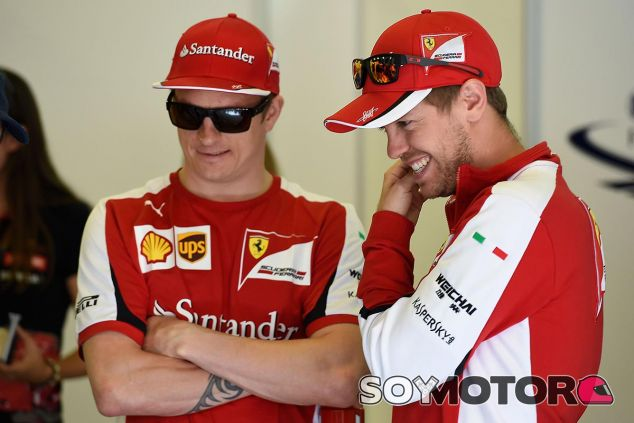 Kimi Räikkönen y Sebastian Vettel en el pasado Gran Premio de España - LaF1