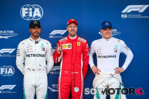 De izq. a der.: Hamilton, Vettel y Bottas –SoyMotor.com