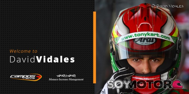 David Vidales dará el salto a monoplazas de la mano de Campos Racing –SoyMotor.com