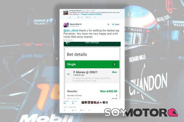 Una fan gana 400 libras apostando por la vuelta rápida de Alonso - laF1