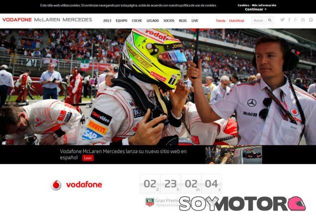 Captura de pantalla de la nueva página web de McLaren