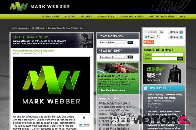 Captura de pantalla de la página oficial de Mark Webber - LaF1