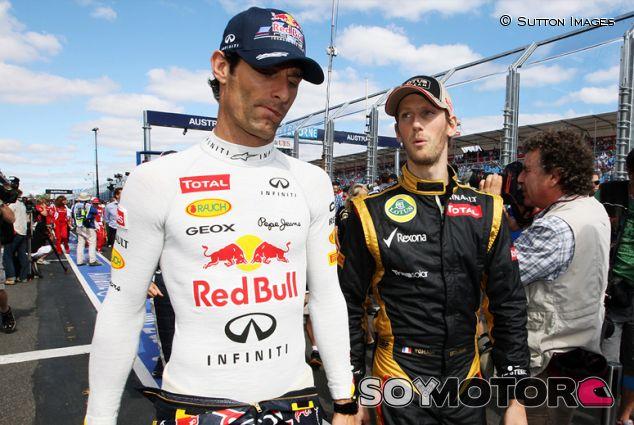 Mark Webber y Romain Grosjean en Australia en 2012 - SoyMotor.com