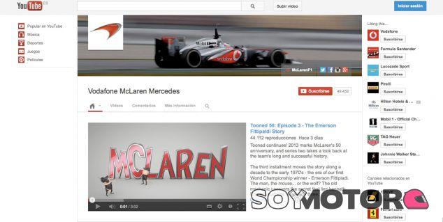 Canal de YouTube del equipo McLaren de F1 - LaF1