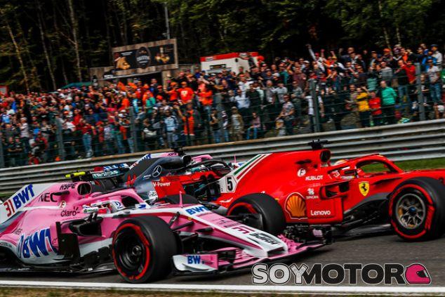 Esteban Ocon, Sebastian Vettel, Lewis Hamilton y Sergio Pérez en Spa - SoyMotor.com