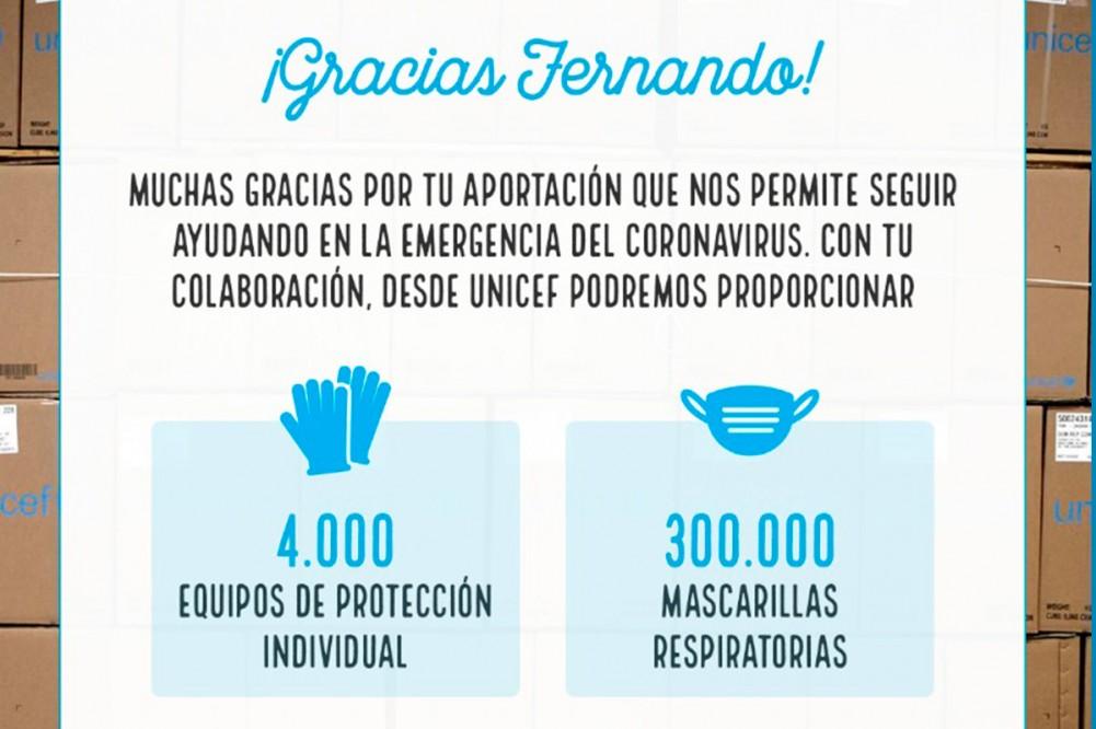 Fernando Alonso dona 300.000 mascarillas y 4.000 equipos de protección