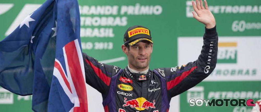 Mark Webber en el podio de Brasil 2013 en su última carrera en F1 - LaF1