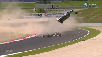 Li sale proyectado tras impactar con Tveter; Piquet lo hará a continuación - LaF1