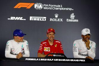 De izq. a der.: Valtteri Bottas, Sebastian Vettel y Lewis Hamilton –SoyMotor.com