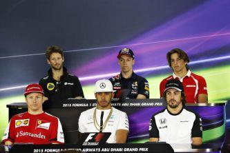 Räikkönen, Alonso y Hamilton, en la fila de abajo, y Grosjean, Kvyat y Merhi, en la de arriba - LaF1