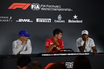 Charles Leclerc, Valtteri Bottas y Lewis Hamilton en el GP de Italia F1 2019 - SoyMotor