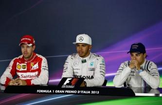 Los protagonistas del podio, Vettel, Hamilton y Massa, en la rueda de prensa de la FIA - LaF1