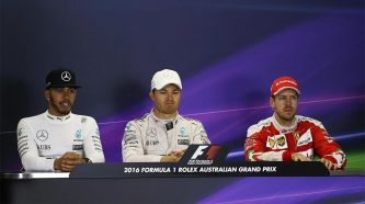 Nico Rosberg, Lewis Hamilton y Sebastian Vettel - LaF1