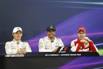 Hamilton flanqueado de Rosberg y Vettel, responder a la prensa tras la carrera de Japón - LaF1