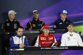 Felipe Massa, Sebastian Vettel, Jenson Button, Nico Hülkenberg, Romain Grosjean y Marcus Ericsson en la rueda de prensa de la FIA del jueves en el GP de China - LaF1