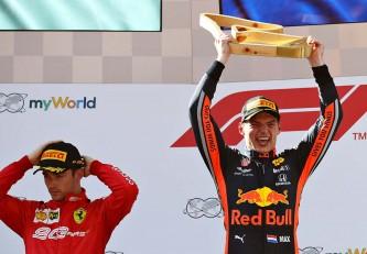 Charles Leclerc y Max Verstappen en el podio del GP de Austria F1 2019 - SoyMotor