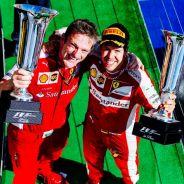 James Allison con Sebastian Vettel en el podio del GP de Hungría - LaF1