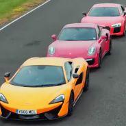 Audi R8 V10 Plus vs. Porsche 911 Turbo S vs. McLaren 570S: el duelo