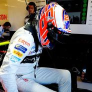 Button, en el box de McLaren