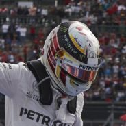 Hamilton celebrando la victoria en México - LaF1