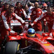 Fernando Alonso en la parrilla de salida de Hungría
