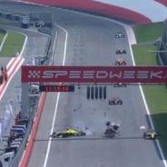 Instante del impacto, con Roberto Merhi en el monoplaza amarillo - LaF1