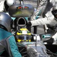 Pit stop de Nico Rosberg con el Mercedes W04