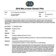 Documento oficial de la FIA e imagen del accidente - LaF1
