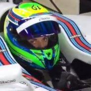 Fotograma del vídeo compartido por Felipe Massa, donde aparece Susie Wolff con su casco - LaF1